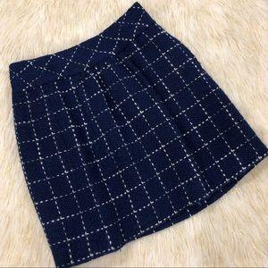 Maeve | Blue/White Wool Blend Pleated Skirt Sz 8